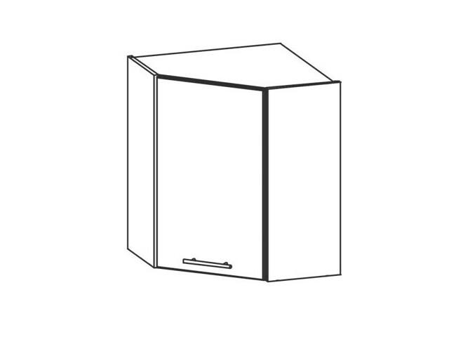 TIFFANY, horní rohová skříňka G60NW, bílý lesk
