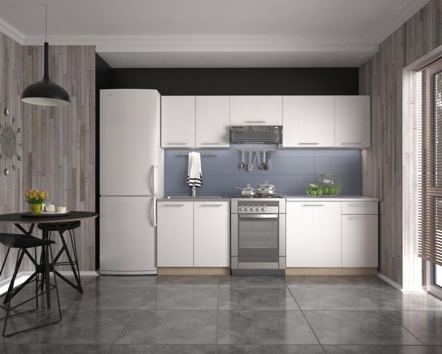 Smartshop Kuchyně DARRIA 180/240 cm, korpus: dub sonoma, dvířka: bílé