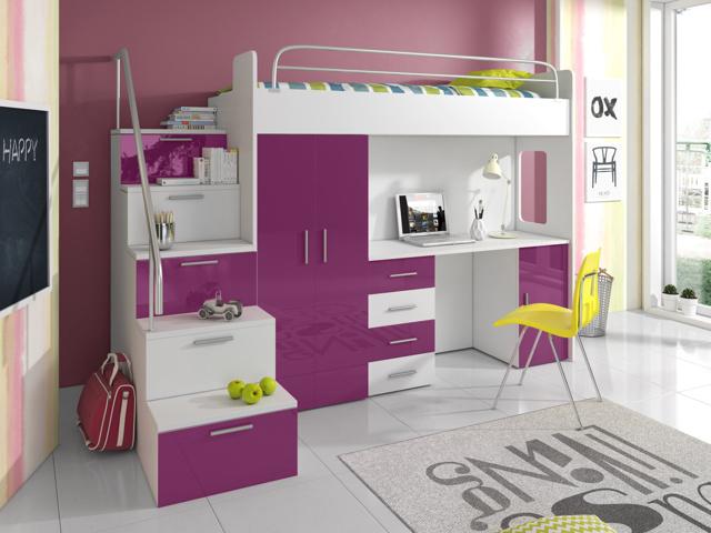 Smartshop Patrová postel se skříní a psacím stolem RAJS 4S, bílá/fialový lesk