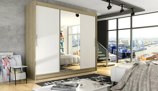 Šatní skříň ASTON I, dub sonoma/bílý mat/zrcadlo