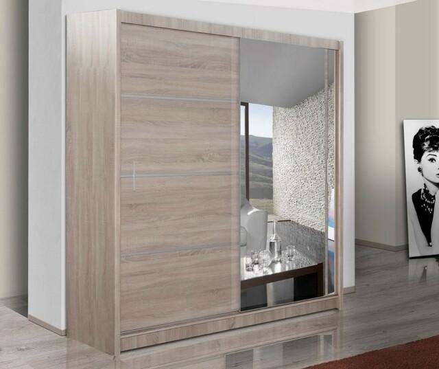 Šatní skříň s posuvnými dveřmi VISTA 150, dub sonoma