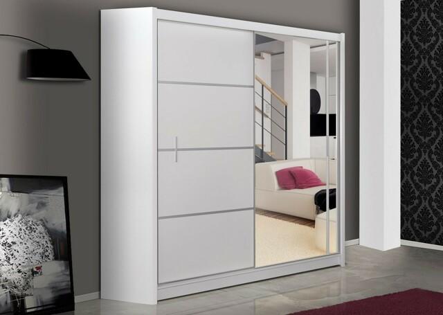 Smartshop Šatní skříň s posuvnými dveřmi WISTA 180, bílá