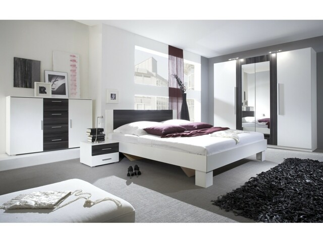 VERA postel 180x200 cm s nočními stolky, bílá/ořech černý