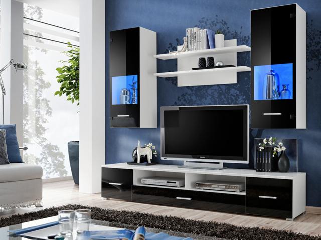 Smartshop RENNO, obývací stěna, bílá/černý lesk