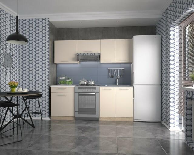 Smartshop Kuchyně MARIJIA 140/200 cm, korpus: dub sonoma, dveře: vanilka