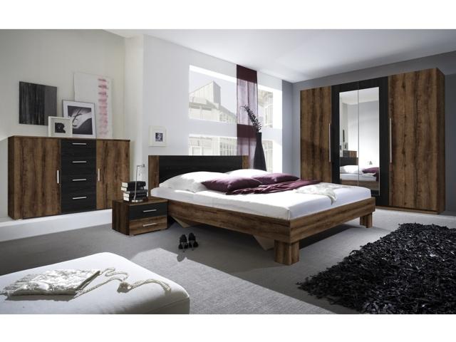 Smartshop VIERA ložnice s postelí 180x200, dub monastery/černá