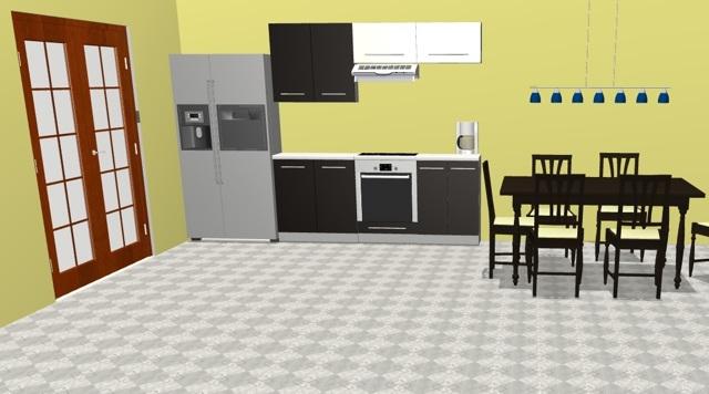 Extom Kuchyně PLATINUM 200 cm, korpus grey, dvířka black + vanilla