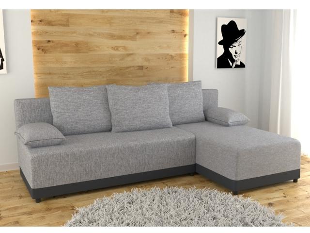 Rohová sedačka KNOX univerzální, šedá látka/šedá ekokůže
