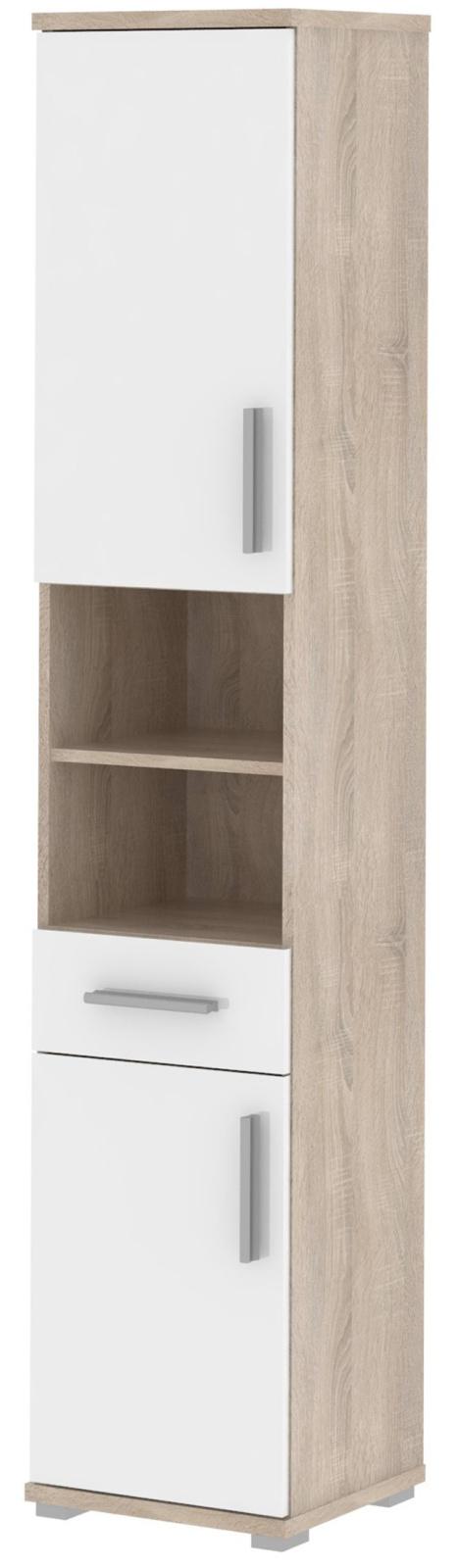 LINDA, skříňka vysoká LI05, dub sonoma/bílý lesk