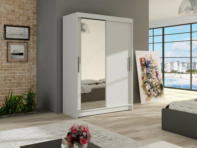 Smartshop Šatní skříň MAIAMI VI, bílý mat/zrcadlo