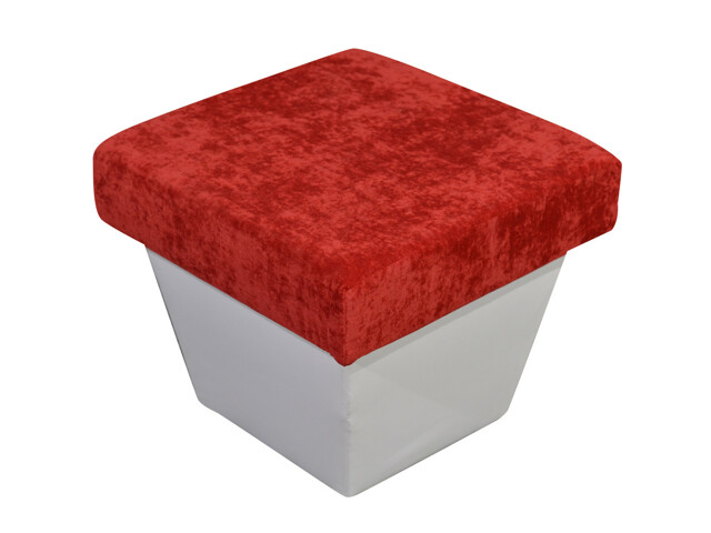 Smartshop Taburet TOLEDO, látka červená/bílá ekokůže