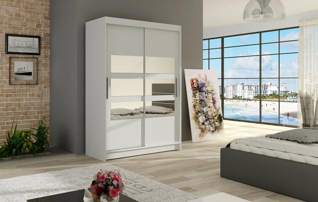 Šatní skříň MIAMI V, bílý mat/zrcadlo
