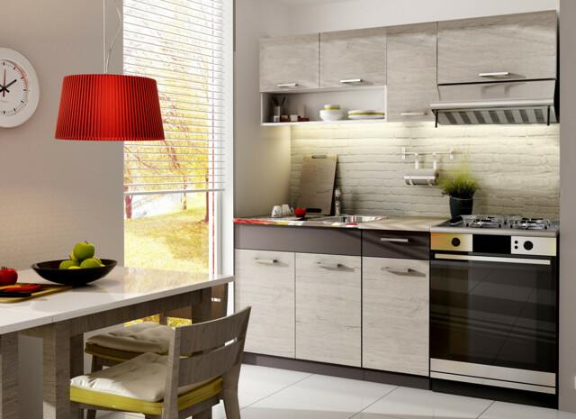 Smartshop Kuchyně MOORENO 120/180 cm, dub picard/lava