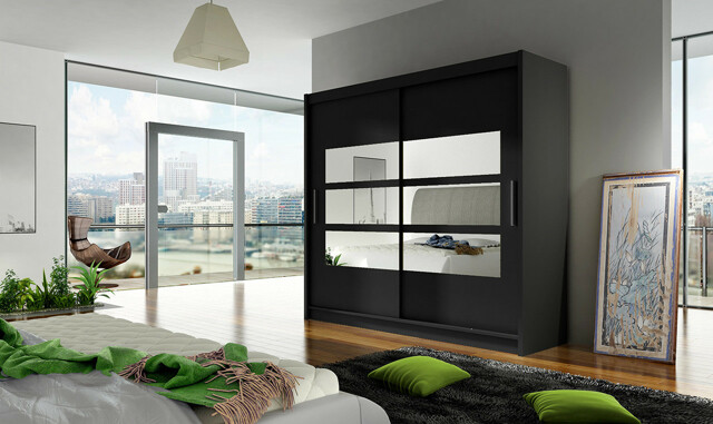 Smartshop Šatní skříň BEIGA III, černý mat/zrcadlo
