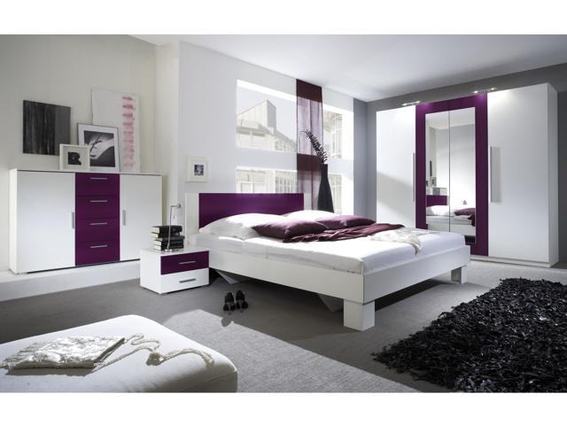 Smartshop VIERA ložnice s postelí 180x200, bílá/fialová