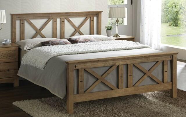 Smartshop TEEXAS, masivní postel 180x200 cm s roštem, teak s vypalovaným dekorem