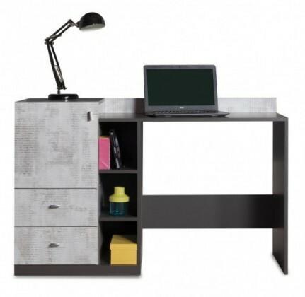 Tablo - psací stůl, 1x dveře, 2x zásuvka (grafit/enigma)
