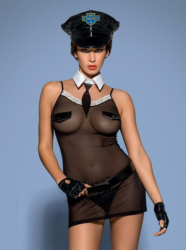 Sexy kostým Police chemise - Obsessive - L/XL - černá