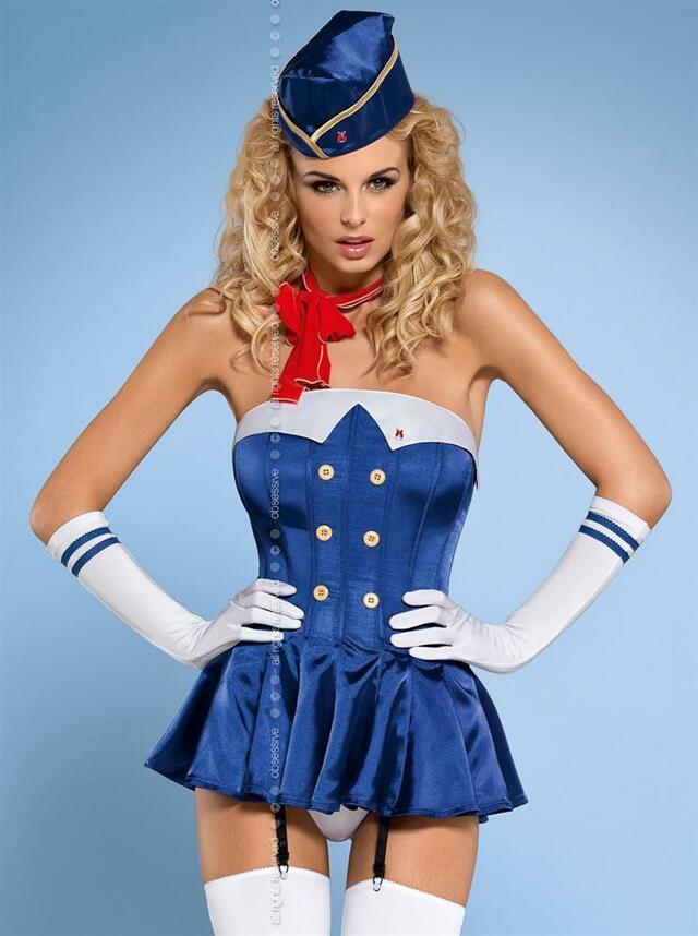Sexy kostým Stewardess corset - Obsessive - L/XL - modrá