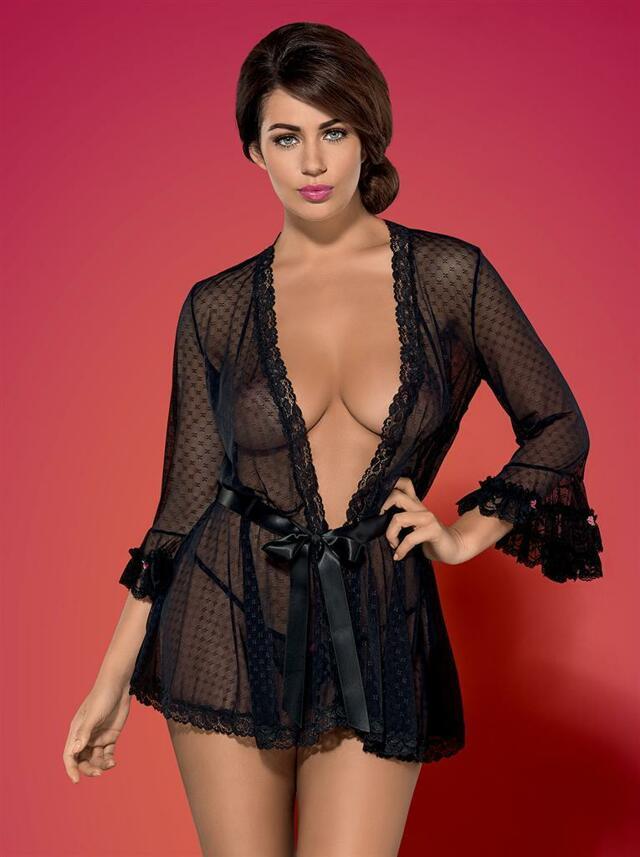 Župan Piccorosa robe - Obsessive - S/M - černá