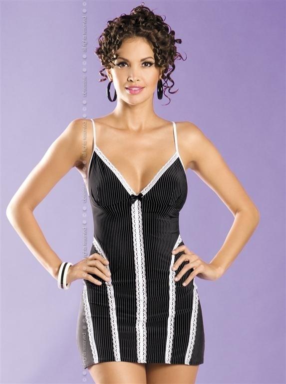 Košilka Casablanca chemise - Obsessive - S/M - černá/bílá