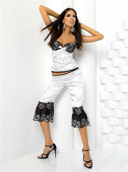 Natalia set-Anais ,barva bilá ,M ,luxusní set - XL - bílo/černá