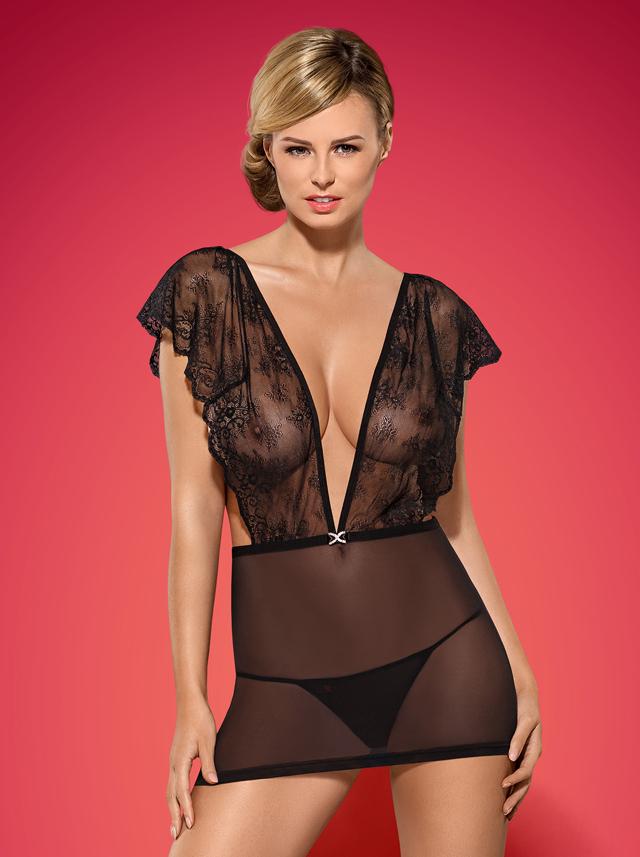 Košilka Merossa chemise - Obsessive - S/M - černá