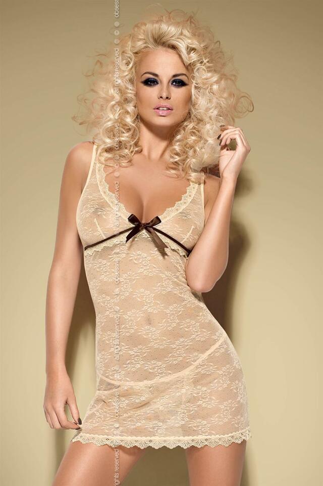 Košilka Caramella chemise - Obsessive - L/XL - béžová