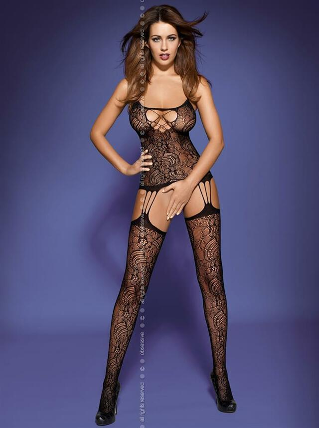 Body Bodystocking F208 - Obsessive - S/M - bílá