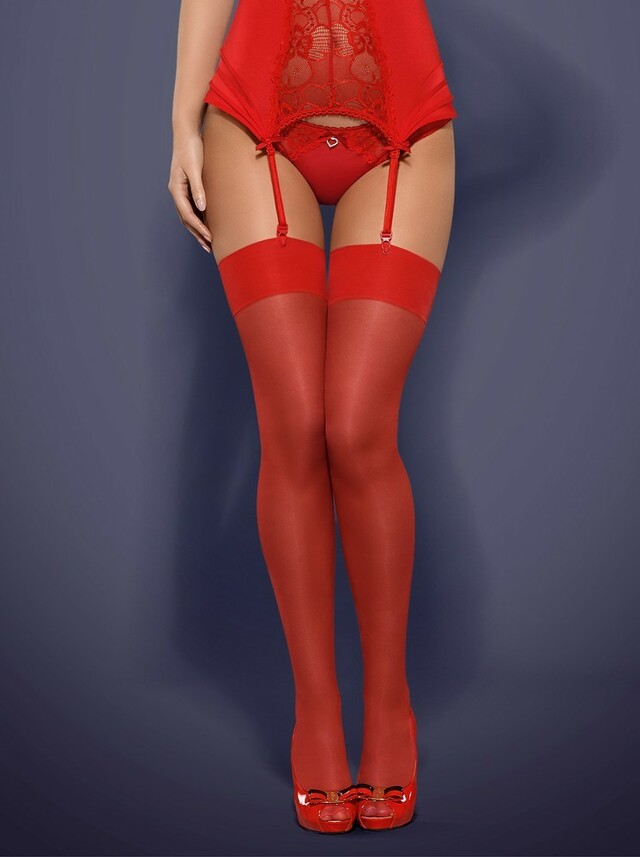 Punčochy S800 red - Obsessive