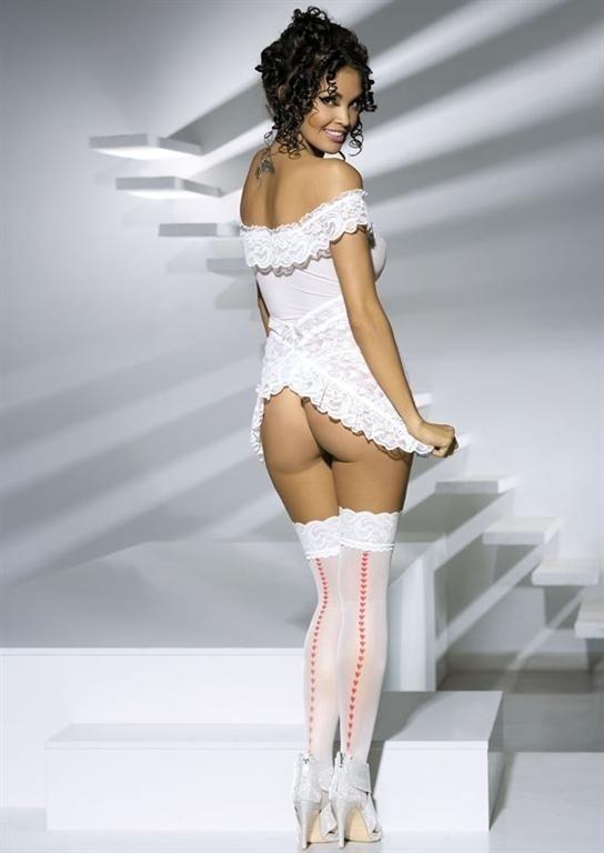 Punčochy Heartdrops stockings - Obsessive - S/M - bílá