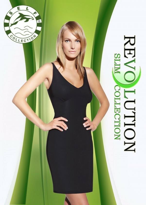 Zeštíhlující šaty F020 - Self - XL/2XL - černá