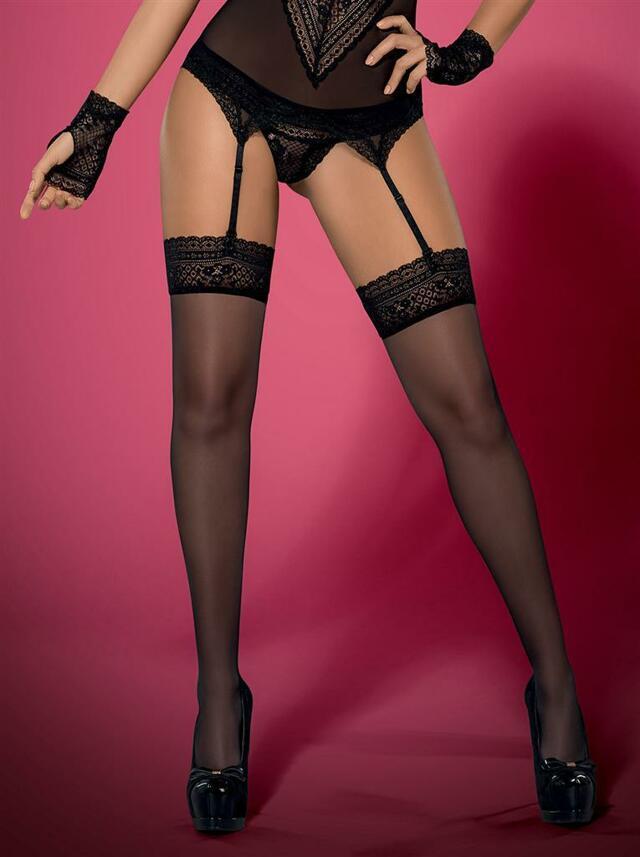 Punčochy Picantina stockings XXL - Obsessive - XXL - černá