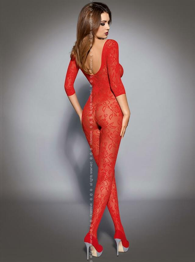 Body Bodystocking F200 - Obsessive - S/M - červená