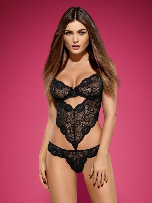 Body Alluria teddy - Obsessive - L/XL - černá