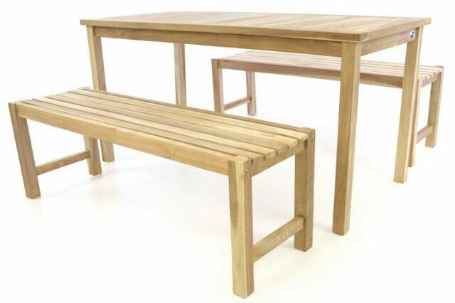 Zahradní set lavic a stolu DIVERO - neošetřené týkové dřevo - 150