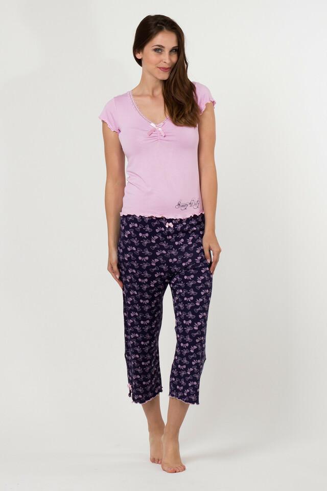 Dámské pyžamo 598 KK Cocoon Secret - L - růžová-modrá