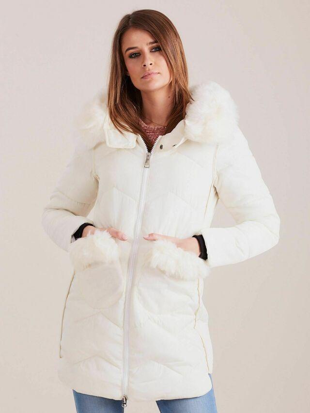 Dámská zimní bunda s kožešinou ecru - XL