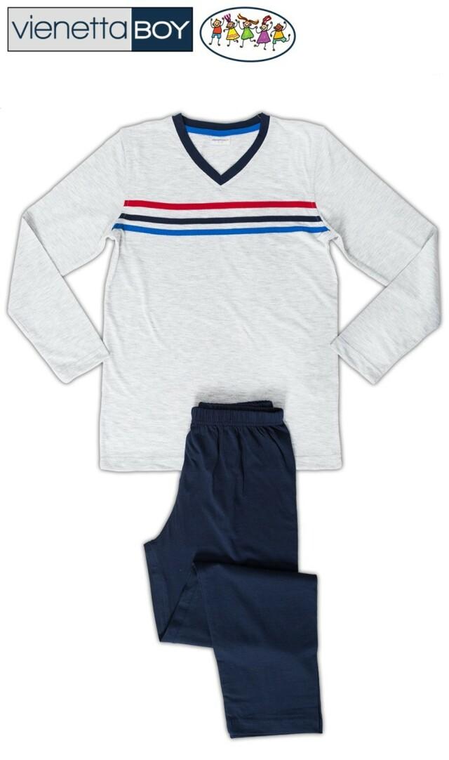 Dětské pyžamo dlouhé Pruhy - šedá 11 - 12