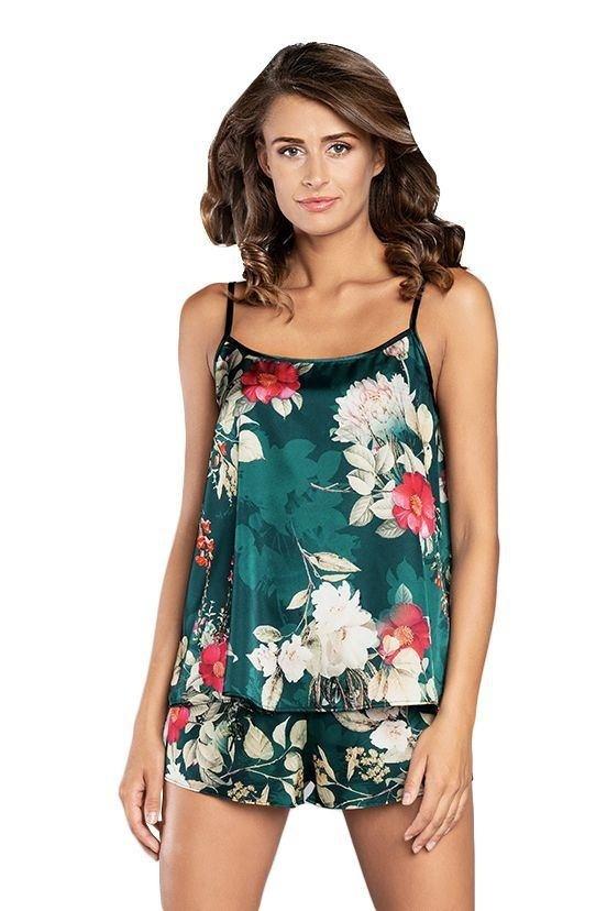 Saténové pyžamo Kreta zelené s květy - XL
