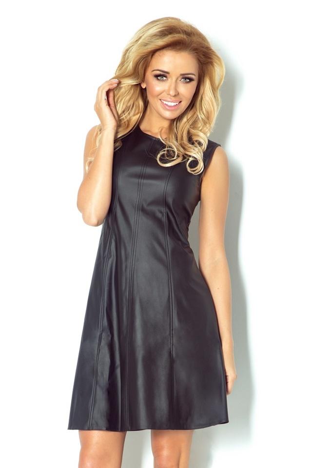Černé koženkové šaty trapézové 80-1 - S