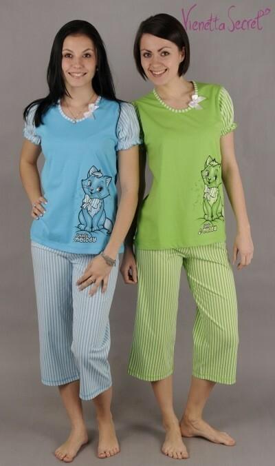 Dámské pyžamo kapri Kočka s mašlí - jahodová S