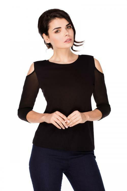 Dámská halenka Violana Colette krátký rukáv - black - XL - černá