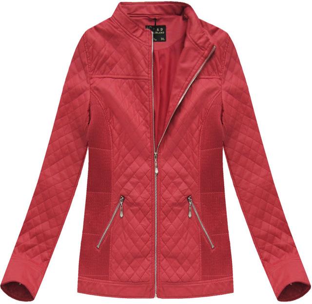 Červená prošívaná bunda ramoneska se stojáčkem (5037BIG) - 50 - červená