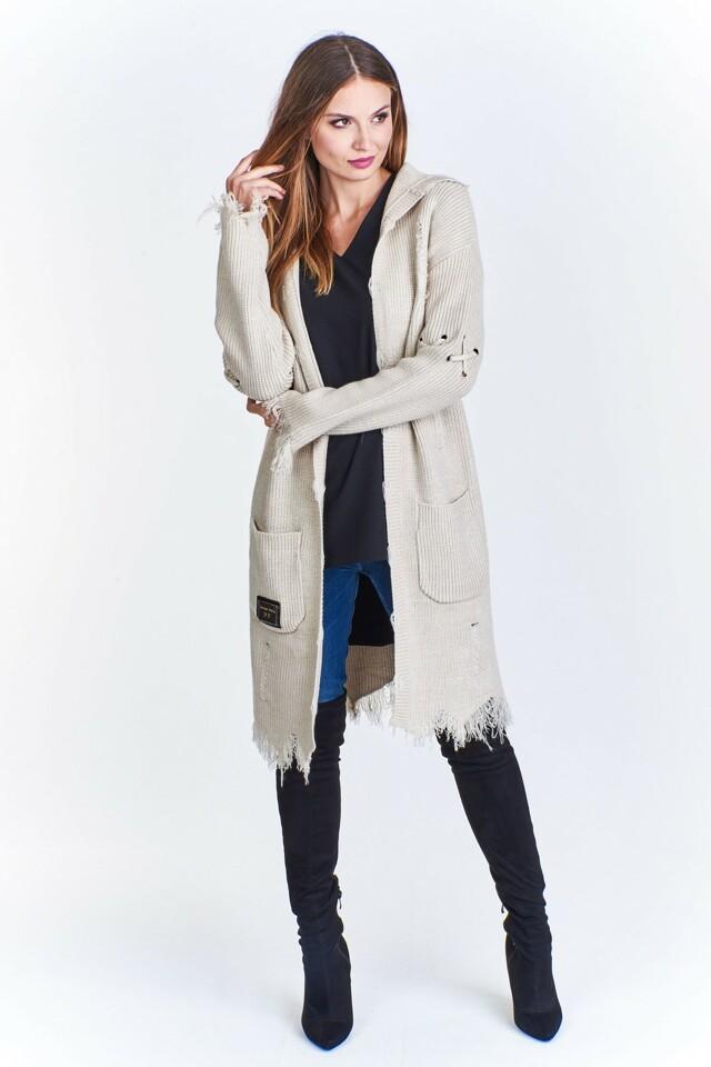 Dámský svetr s kapucí M50666 - PAPARAZZI FASHION