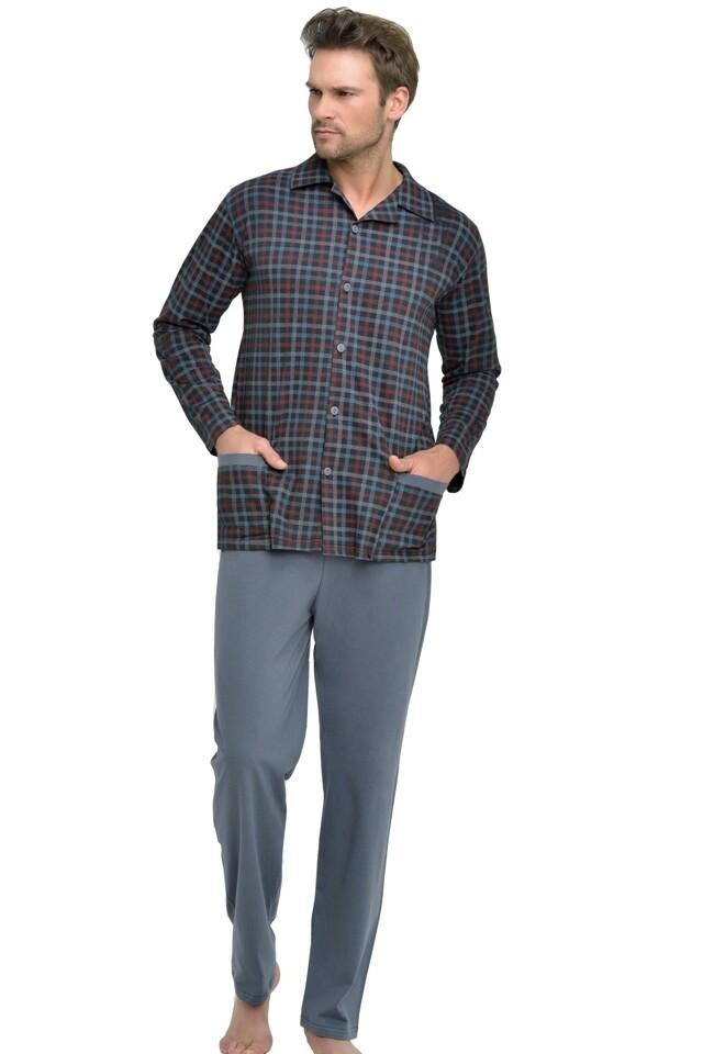 Pánské pyžamo Gabor káro knoflíky nadměrná velikost