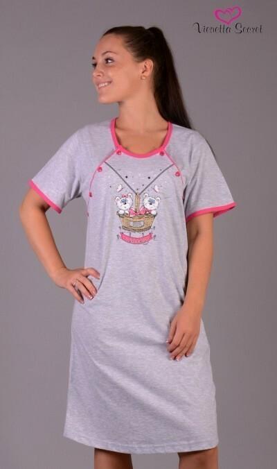 Dámská noční košile mateřská Méďové v košíku