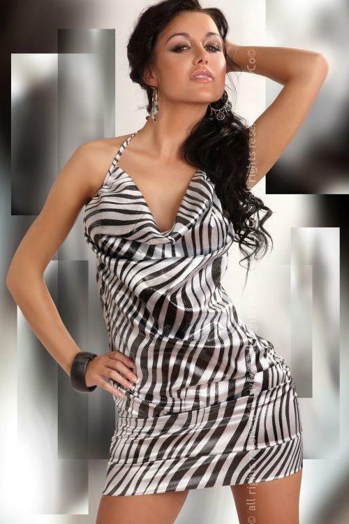 Dámské šaty Eliora - M - černá-bílá