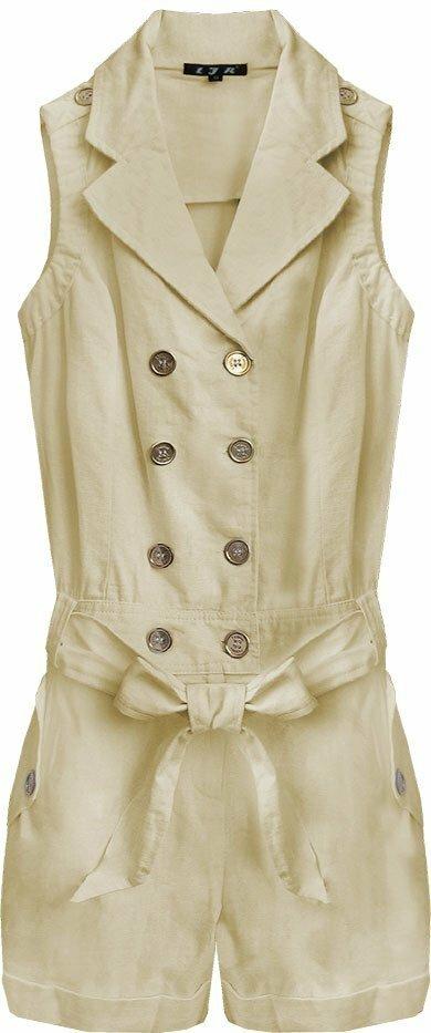 Krátký béžový dámský overal ze lnu a bavlny (1601) - M (38) - béžový