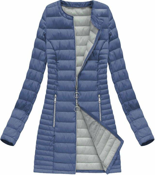 Dlouhá světle modrá prošívaná bunda (21819) - 46 - modrá